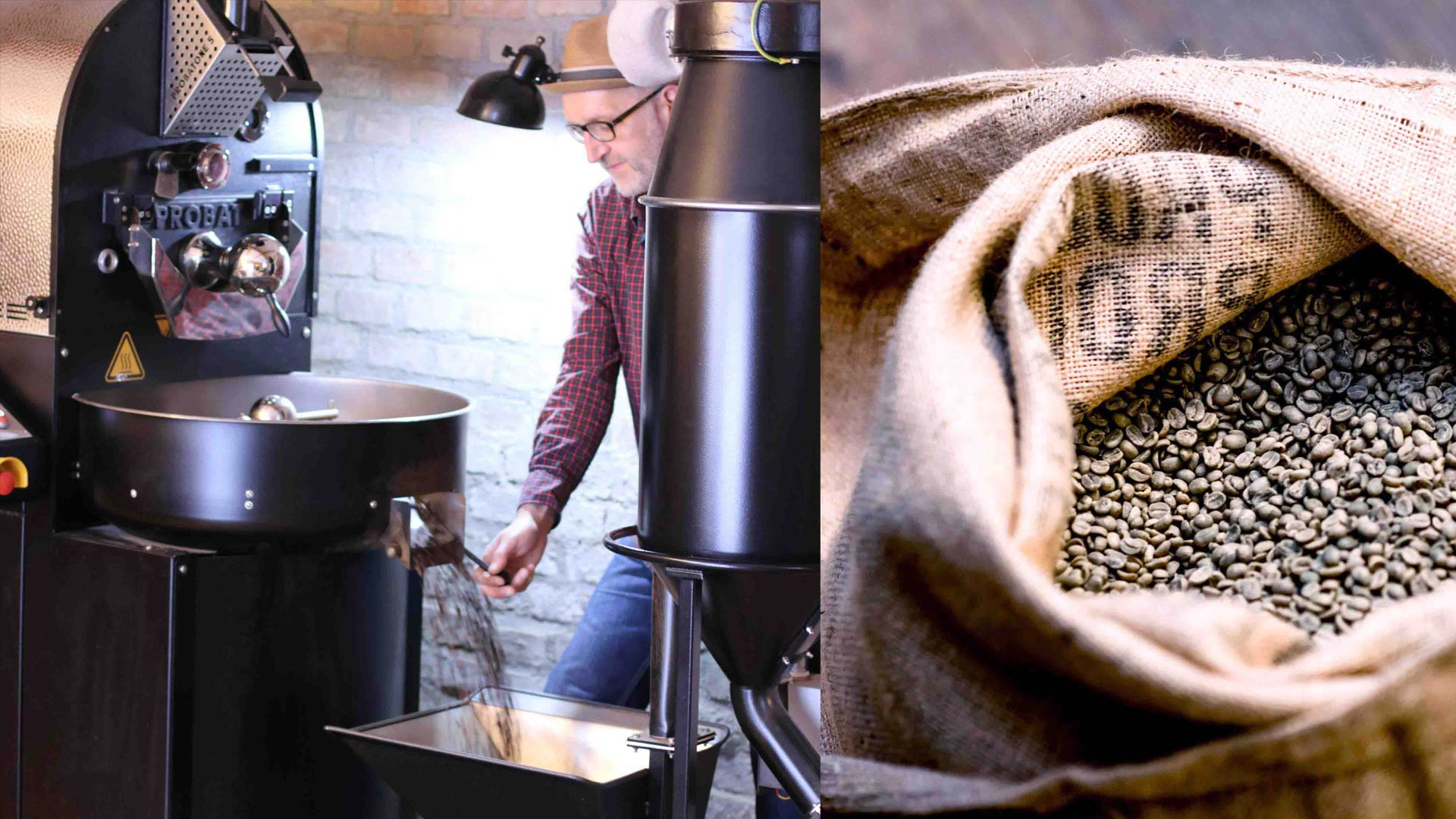 Reiner roasting coffee beans with love